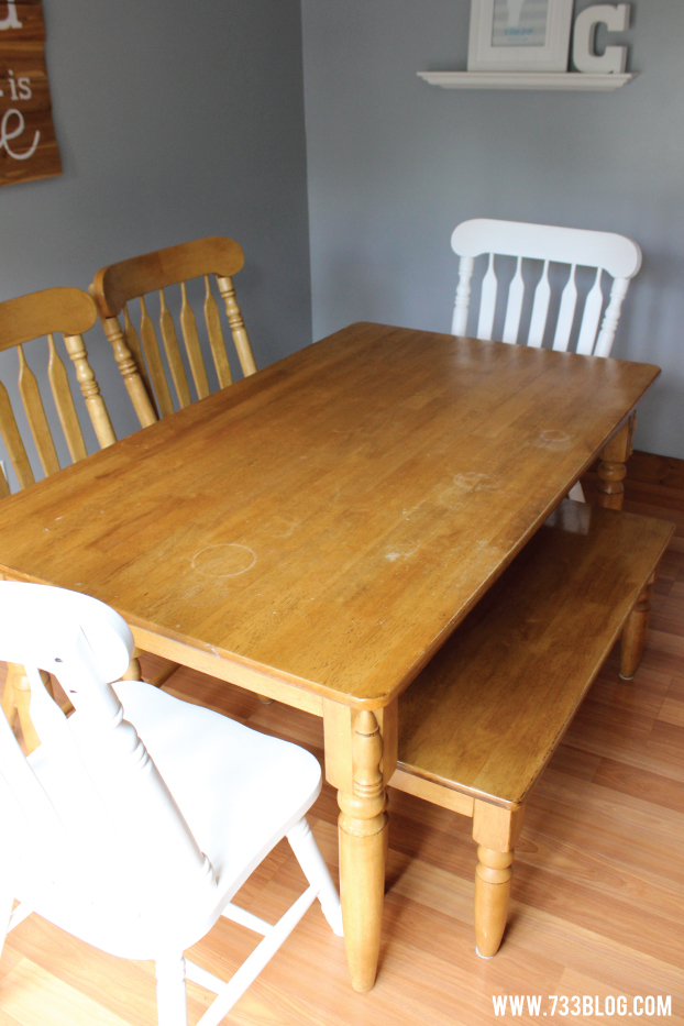 Dining Room Table prior to painting it a beautiful aqua blue!