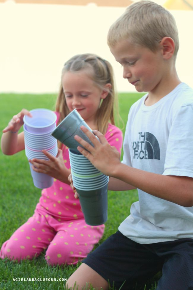 Fun cup race game for children