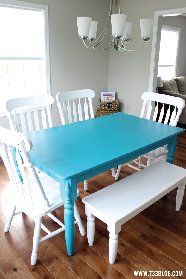 Chalky Finish Paint Dining Room Table Makeover Inspiration