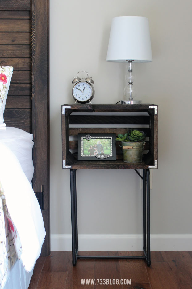 DIY Nightstand out of a $10 crate!