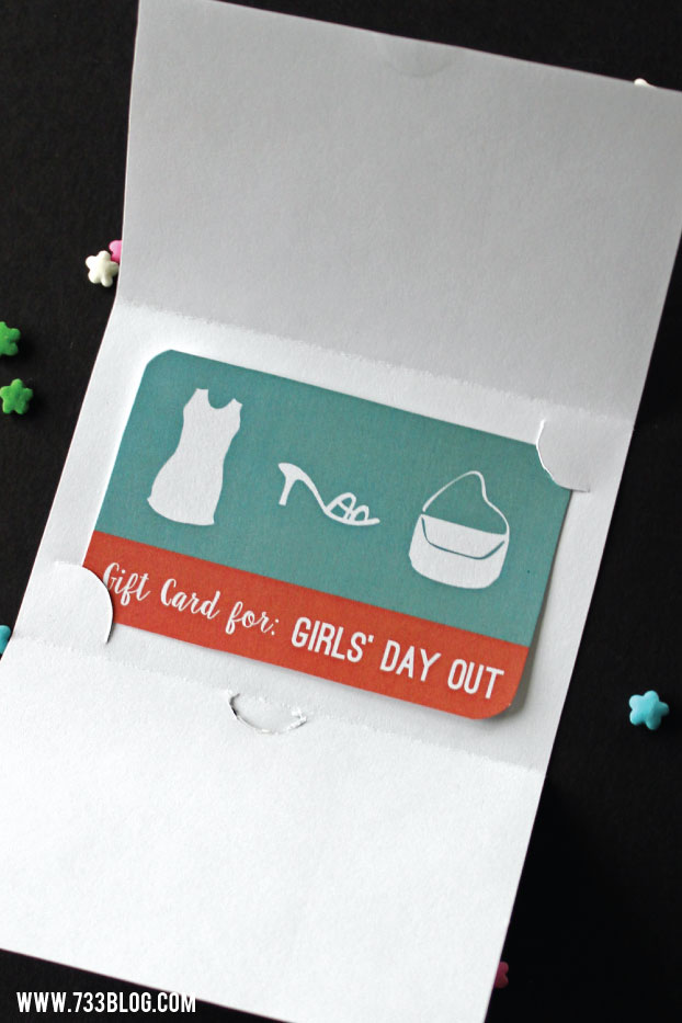 Free Printable Girls' Day Out Gift Card and Holder Gift Idea