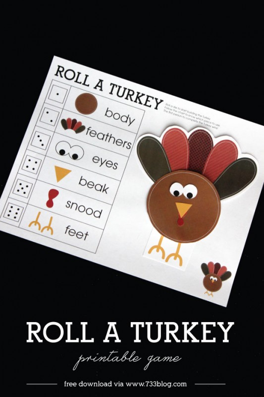 Roll a Turkey Children's Game Free Printable
