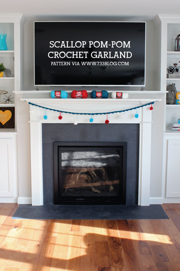 Easy Crochet Scallop Pom-Pom Garland