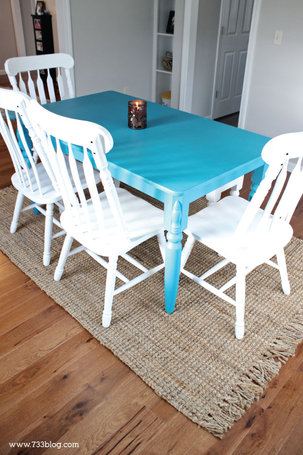 DIY Blue Dining Room Table