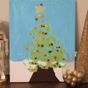 DIY Hand Print Christmas Tree Painting Tutorial