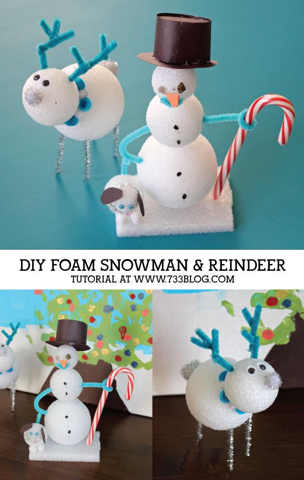 DIY Foam Snowman and Reindeer Kids Craft