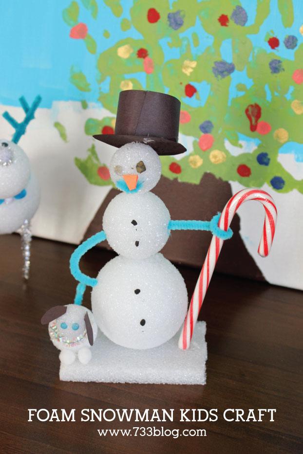 DIY FOAM SNOWMAN KIDS CRAFT