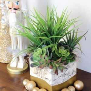 Gold-Dipped Foam Faux-Bark Planter