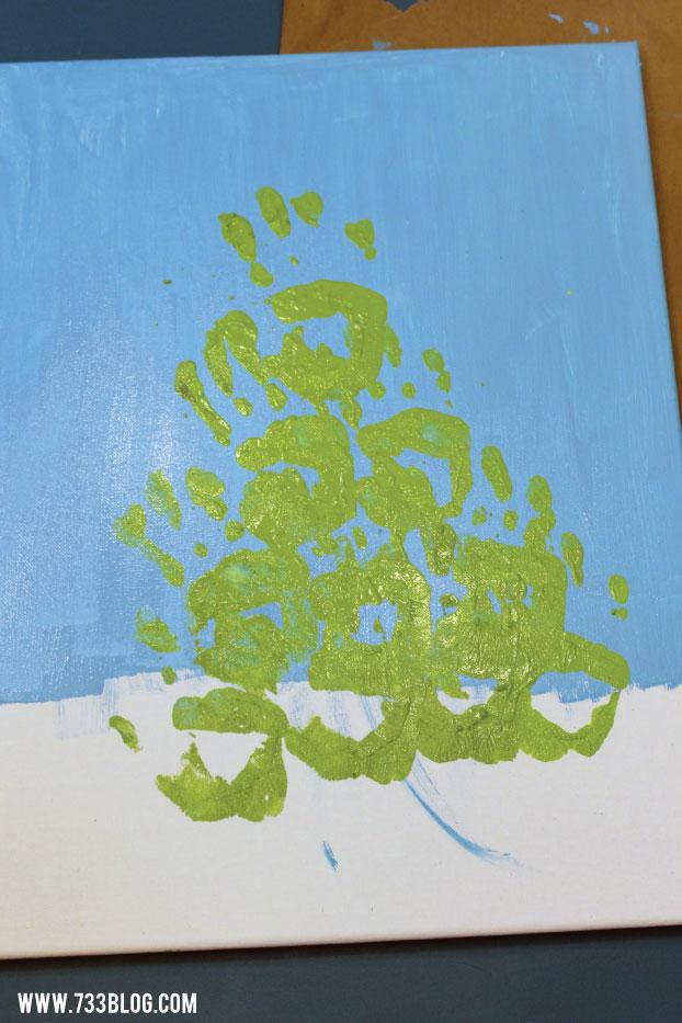 DIY Hand Print Christmas Tree Painting Tutorial