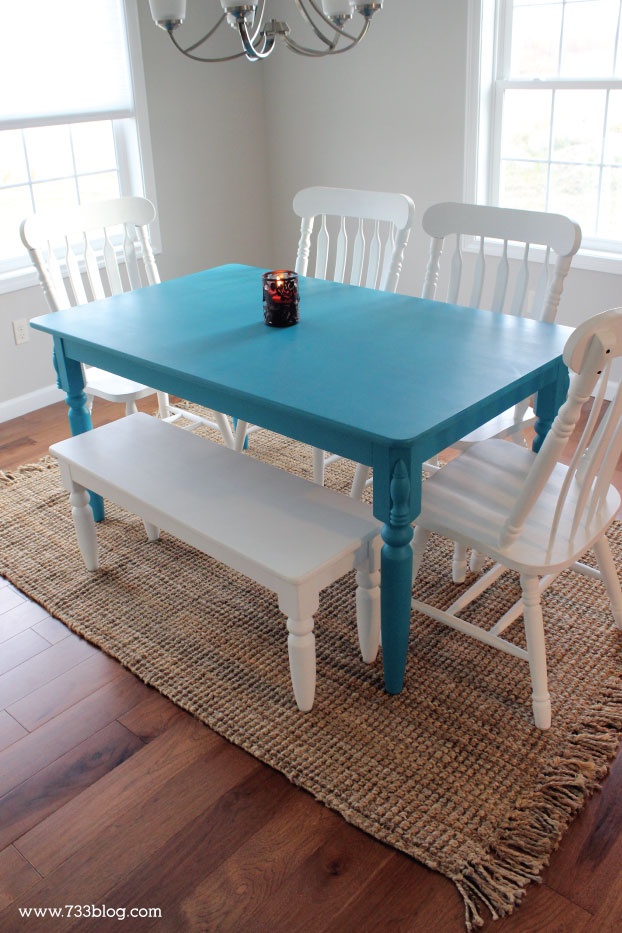 Painted Blue Dining Room Table