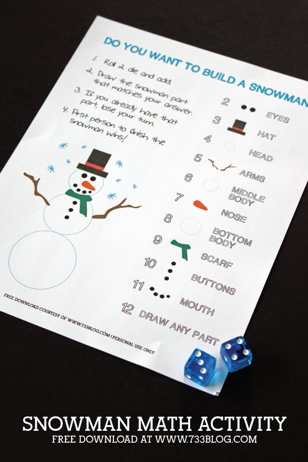 Snowman Math Activity Free Printable
