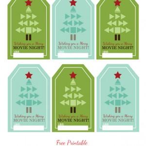 Free Printable Holiday Movie Night Gift Tags