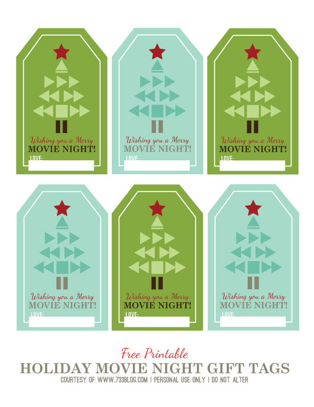Printable Holiday Movie Night Gift Tags