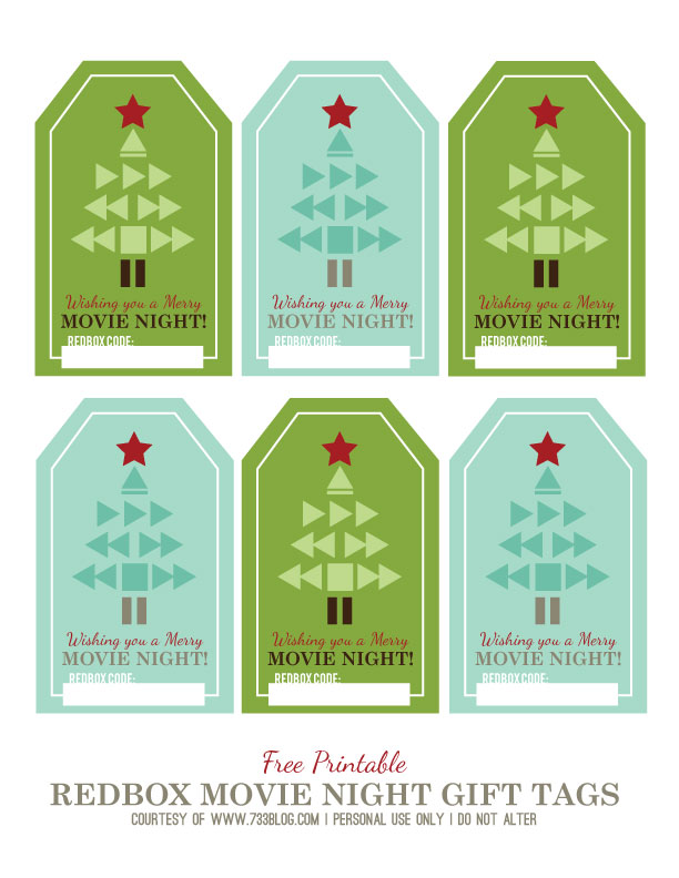 Free Printable Redbox Movie Night Gift Tags