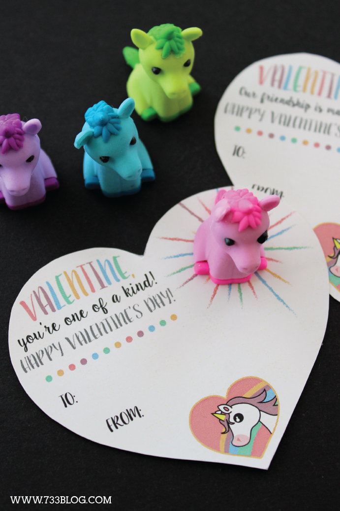 Printable Unicorn Classroom Valentine - use with a toy or without!