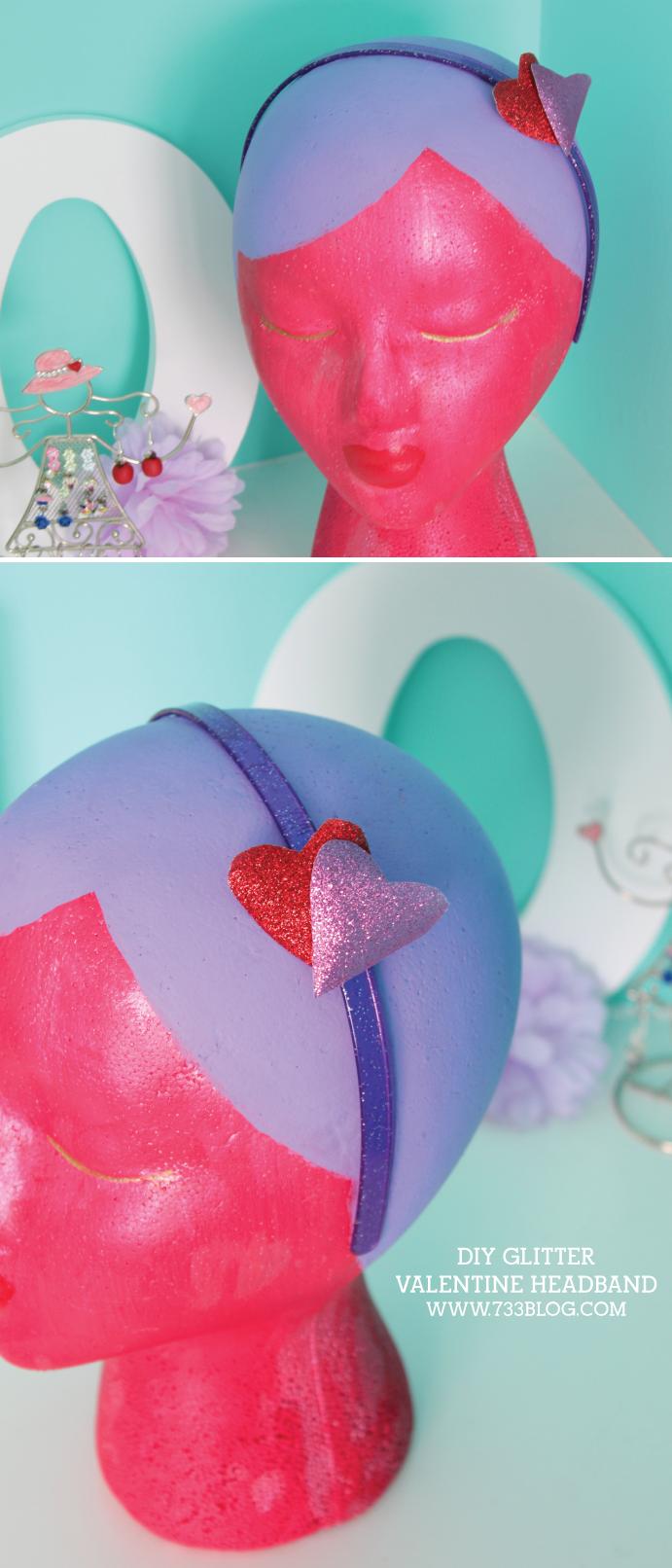 DIY Glitter Valentine Headband