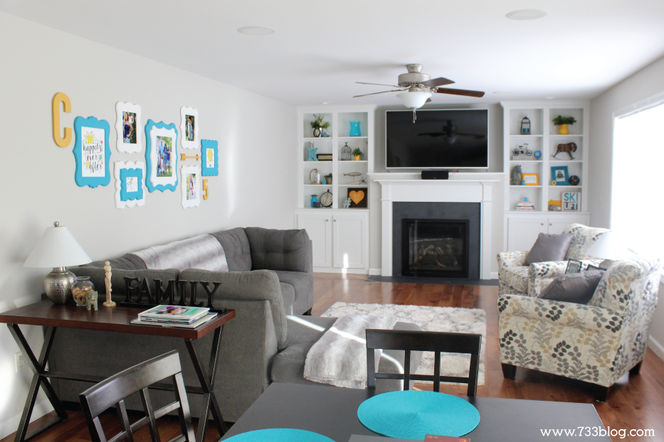 Large Colorful Family Room with Gallery Wall