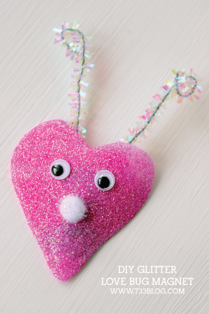DIY Glitter Valentine Magnets