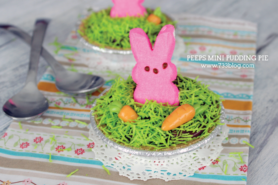 No-Bake PEEPS Mini Pudding Pie with DIY Tootsie Roll Carrots