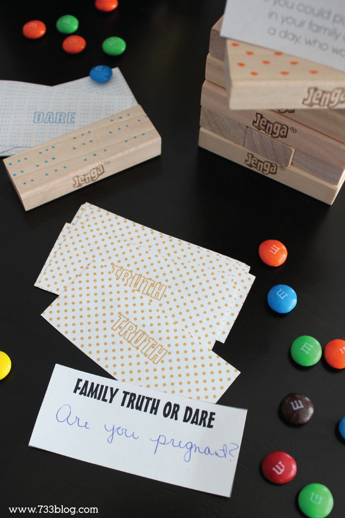 Family Game Night - Printable Family Truth or Dare JENGA Edition!
