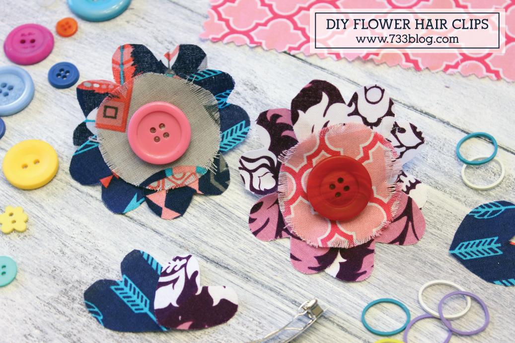 DIY Scrap Fabric Flower Hair Clips