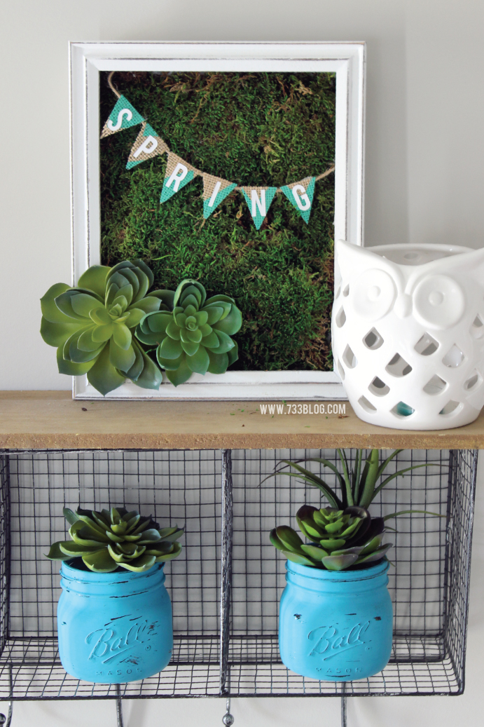 DIY Faux Succulent Shadow Box with Spring Moss