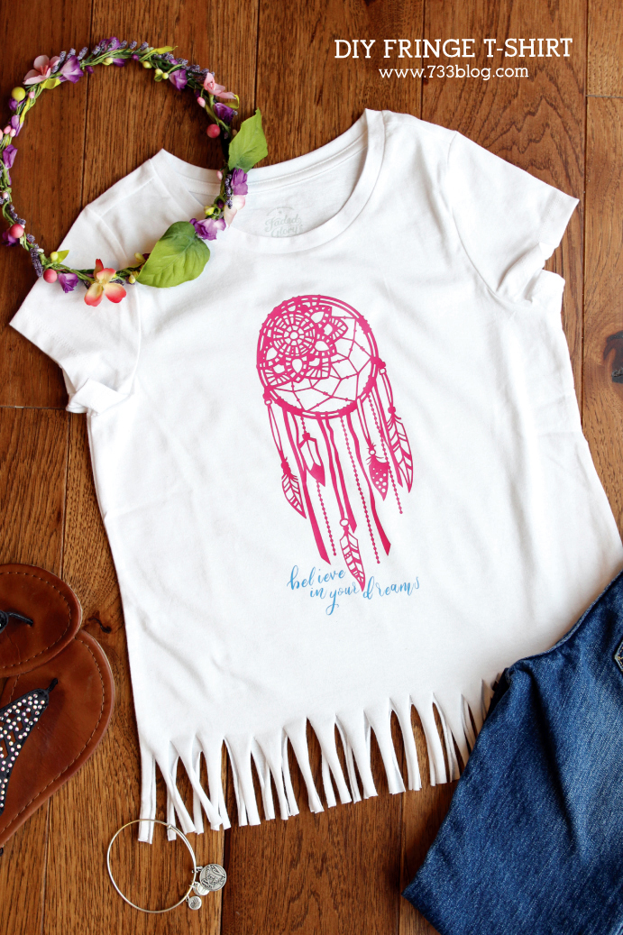 Believe in your Dreams DIY Fringe T-Shirt