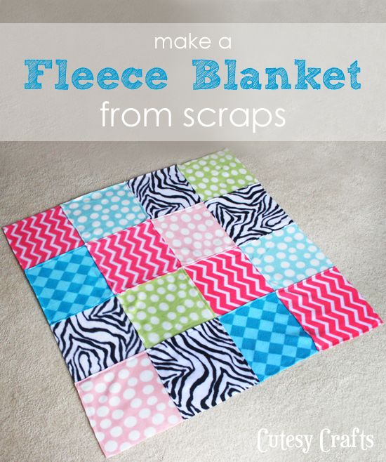 DIY Scrap Fabric Fleece Blanket