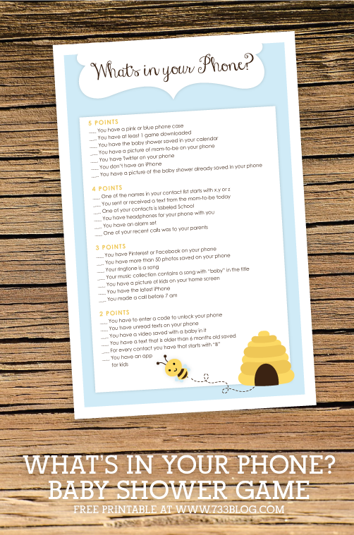 What's in your Phone? Printable Baby Shower Game