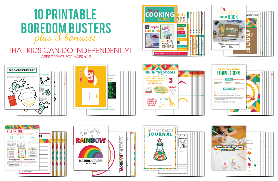 Printable Boredom Buster Kit to get kids out from behind those screens and participating in fun and educational activities that require little to no adult intervention!
