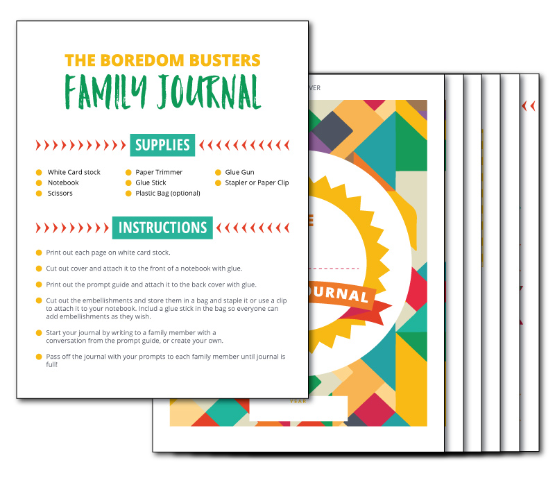 Printable Family Journal with lots of great writing prompts and fun graphics to include with your writing and drawing!