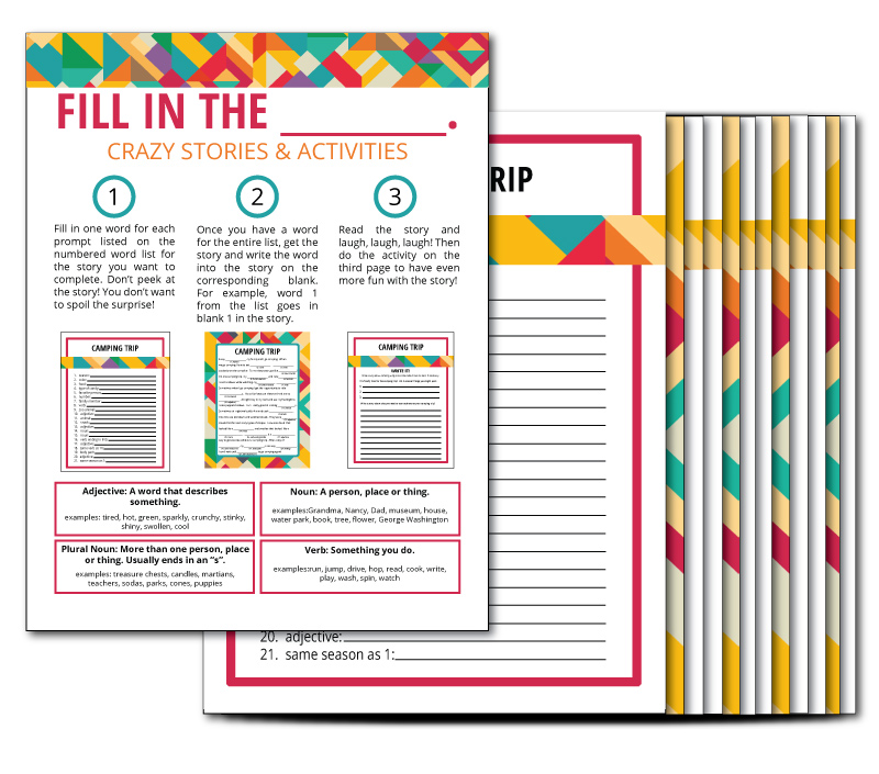 Printable Fill in the Blank Activities including writing, drawing, creating and acting prompts!