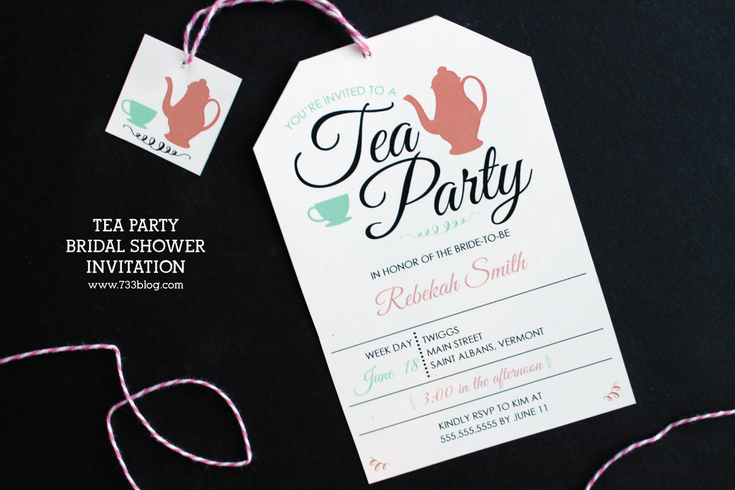 tea party bridal shower printable invitation