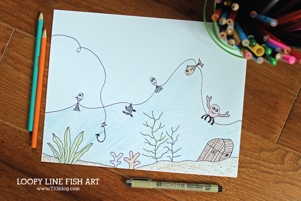 Loopy Line Fish Art Technique for Kids