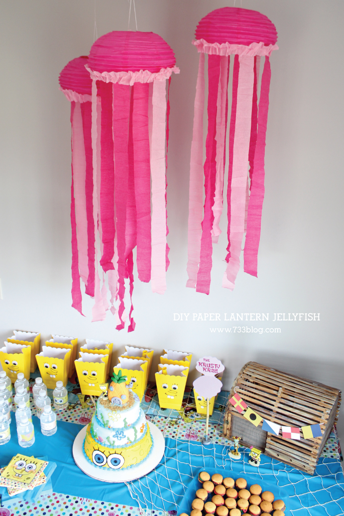 DIY Paper Lantern Jellyfish Tutoiral - Perfect for Ocean Themed Birthday Decor!