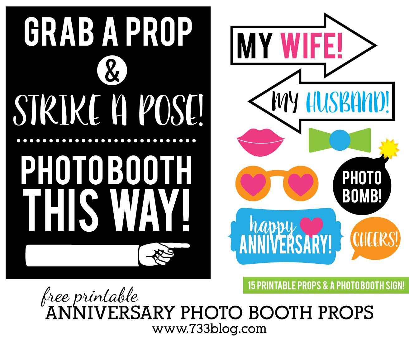 photograph relating to Photo Props Printable referred to as Printable Anniversary Picture Booth Props - Motivation Produced