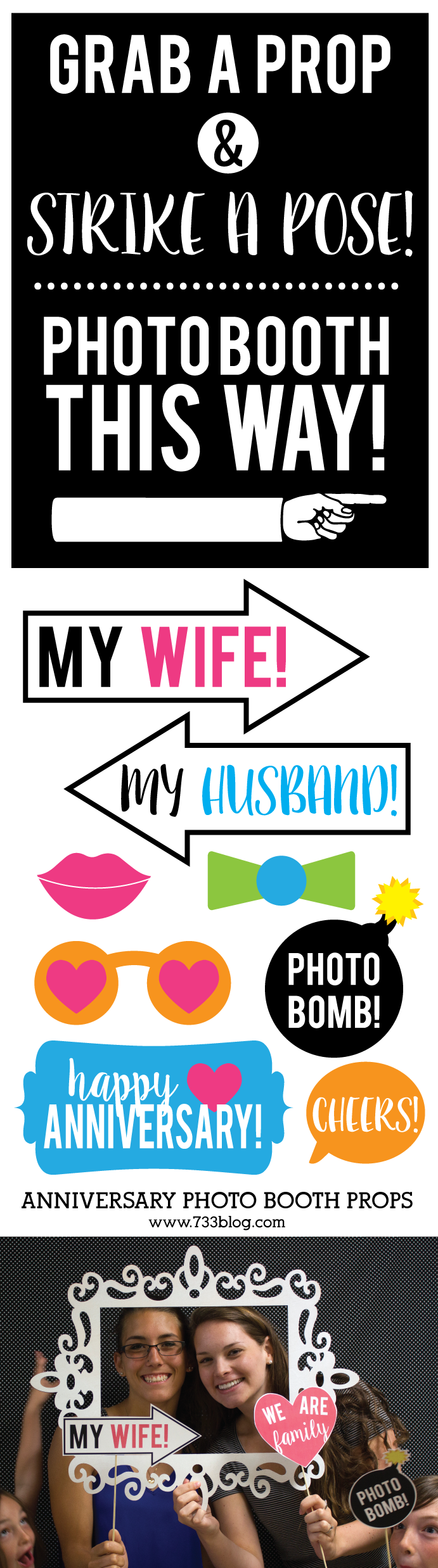 Printable Anniversary Photo Booth Props - includes 15 props and a fun photo booth sign!