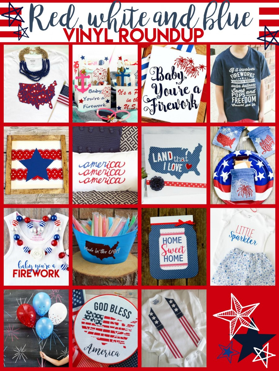 Red, White and Blue Vinyl Projects perfect for Memorial Day and Fourth of July!