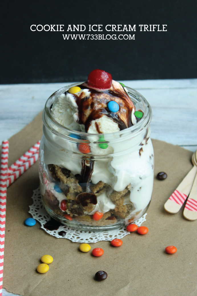 Chocolate Chip Cookie and Ice Cream Trifle - an amazingly easy to make layered dessert.