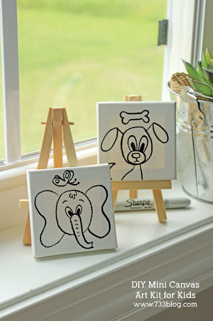 DIY Mini Canvas Art Kits for kids are inexpensive gift ideas. They'd also be adorable favors for an art party!