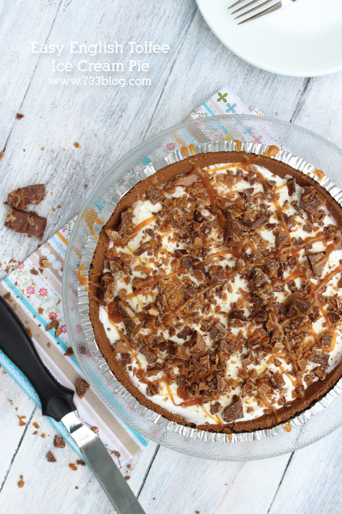Easy English Toffee Ice Cream Pie Recipe - this is so good, you'll be hard pressed to have just one piece!