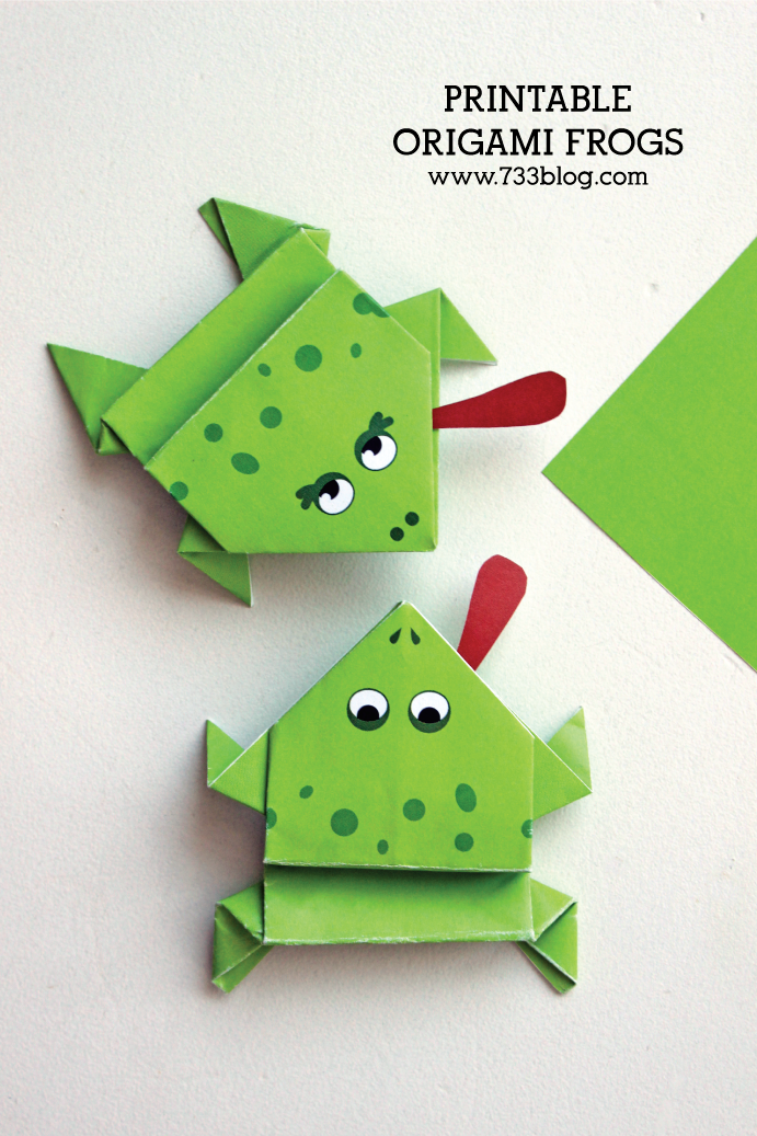 Printable Origami Frogs - Fun craft for kids!