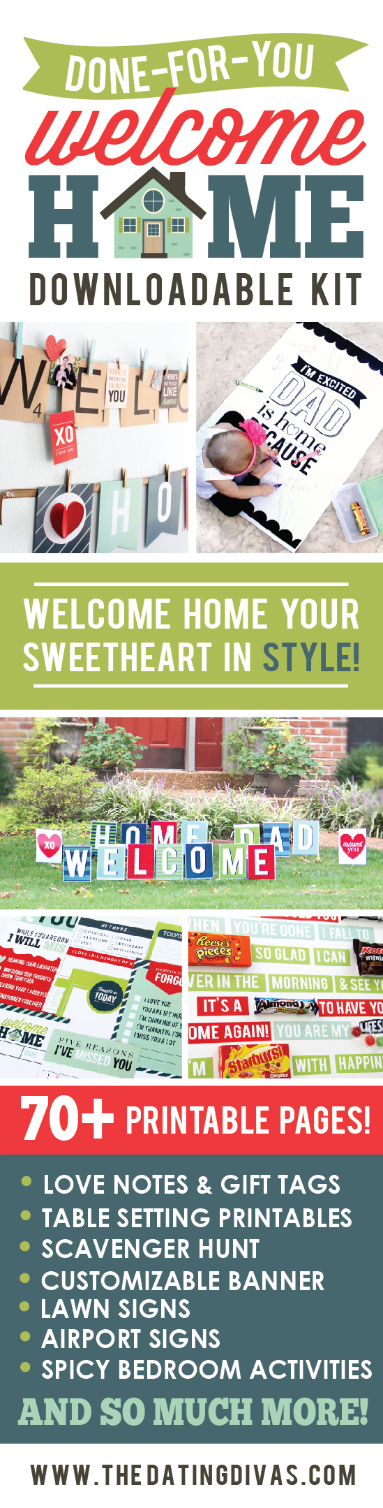 Welcome Home Printable Kit - If you're loved one has been away, welcome them home in style with this seventy page kit!