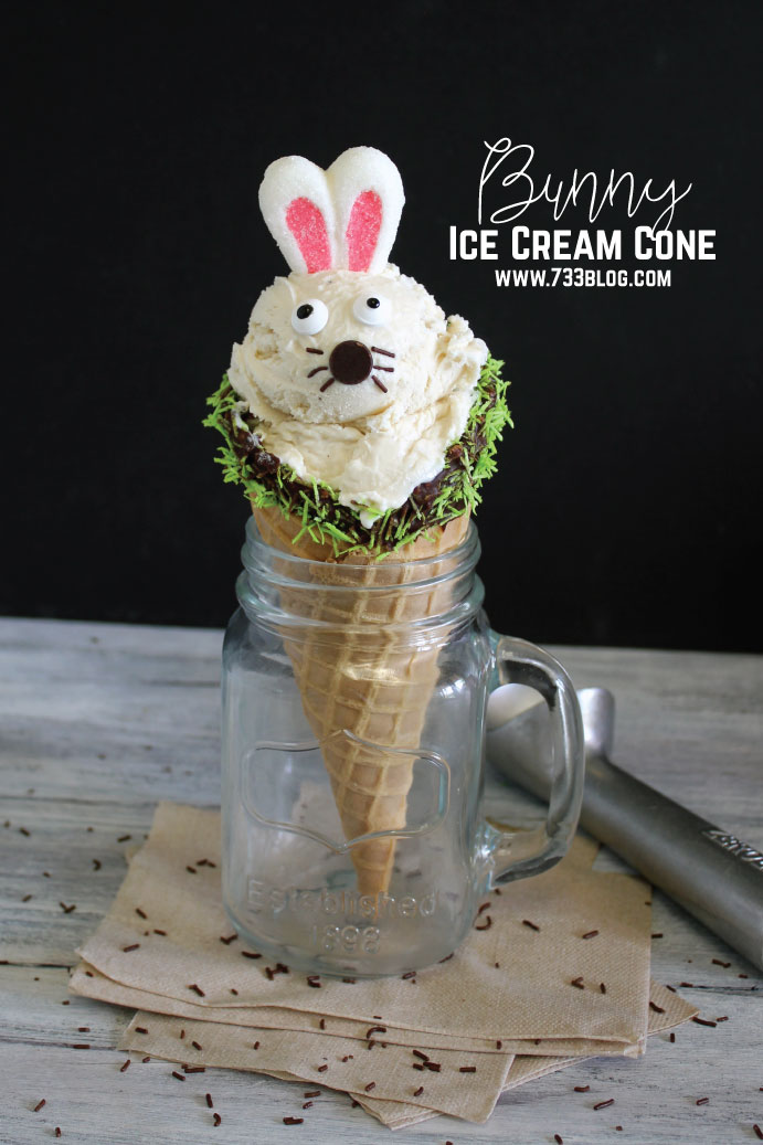 This easy DIY Bunny Ice Cream Cone is a fun treat for the kids!