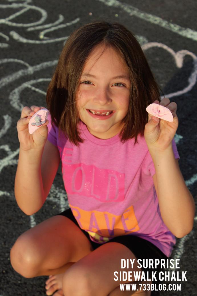 DIY SIdewalk Chalk with a Mini Surprise inside! So much fun!