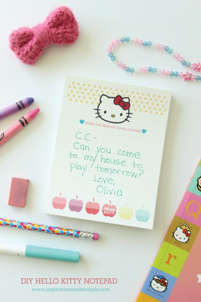 graphic relating to Printable Notepads named Printable Do-it-yourself Hello there Kitty Notepad - Motivation Intended Very simple