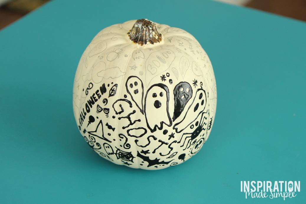 Easy No Carve Halloween Doodle Pumpkin