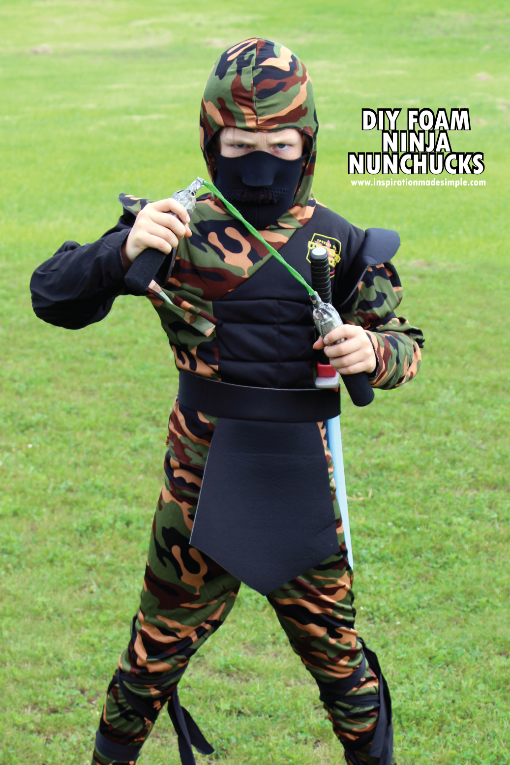 DIY Foam Ninja Nunchucks - perfect for a halloween costume accessory!