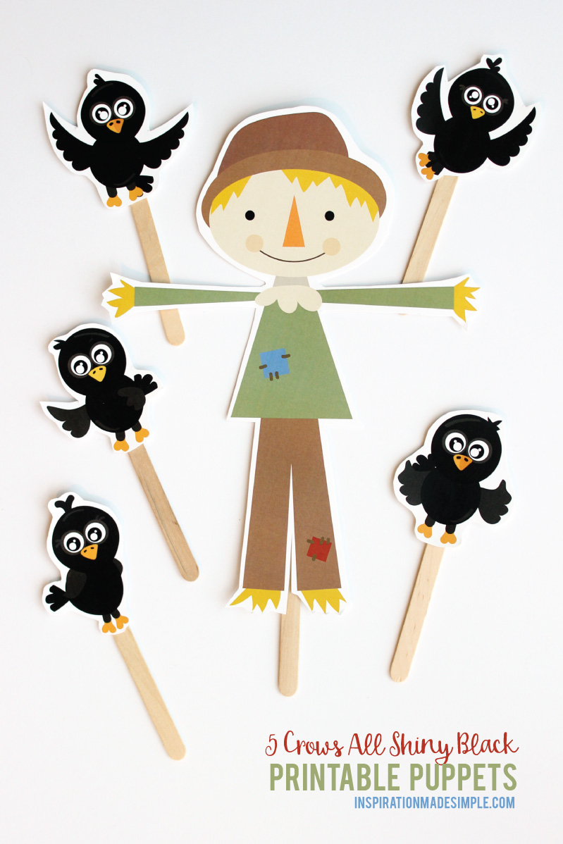 5 Crows All Shiny Black Printable Puppets
