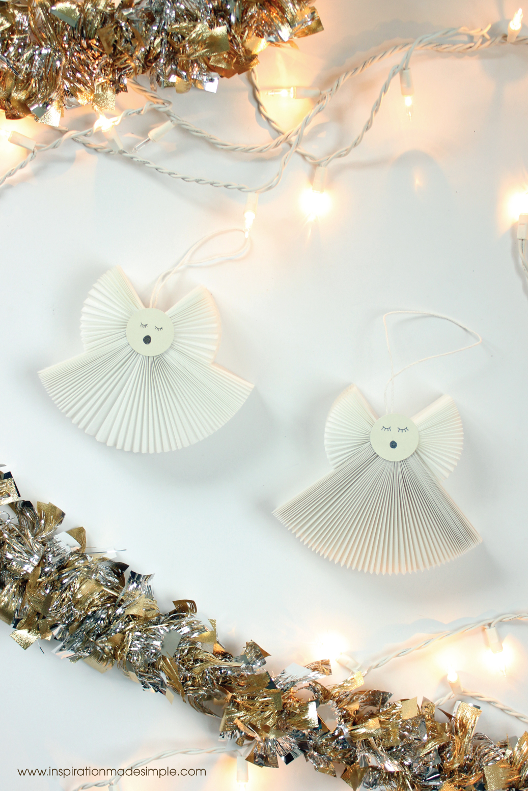 DIY Accordion Fabric Angel Ornaments
